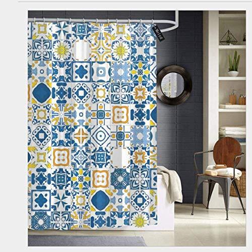 N/A Mozaïek Portugees Azulejo Mediterraans Arabisch Effect Waterdicht Douchegordijn - Water, Zeep en - Machinewasbaar - Douchehaken zijn inbegrepen voor Badkamer 72 x 72 inch