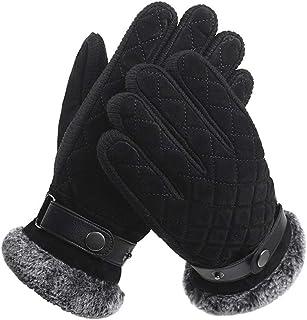冬は暖かい手袋を保つ男性厚い滑り止め防風コールドプロテクションライディング (色 : 黒)