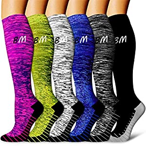 Copper Compression Socks Women & Men(6 Pairs) – Best for Running,Medical,Athletic Sports,Flight Travel, Pregnancy