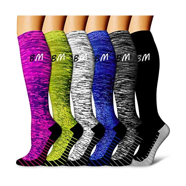 Copper Compression Socks Women & Men(6 Pairs) – Best for Running,Athletic Sports,Flight Travel, Pregnancy