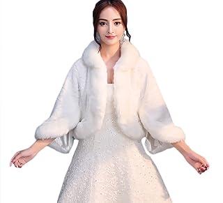 63f5064769620 SK Studio Femme Chaud Boléro en Fausse Fourrure Pour Robe de Soirée Veste  Mariage Châle