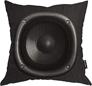Moslion Throw Pillow Cover Speaker 18x18 Inch Music Sound Fashion Cool Young Black Square Pillow Case Cushion Cover for Home Car Decorative Cotton Linen