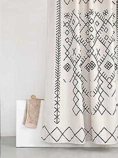 پرده دوش پارچه ای YoKii Tassel ، روتختی سیاه و بژ نوار چاپی پرده حمام پلی استر Boho با قلاب ، تزیینات هتل اسپا پرده حمام سنگین وزن 72 اینچ ، ((72 x 72 ، 80 بوشو)