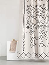 YoKii Boho Moroccan Fabric Shower Curtain, Tribal Beige Geometric Trellis Polyester Bath Curtain Set, Decorative Spa Hotel Heavy Weighted 72-Inch Bathroom Curtains, (72 x 72, Moroccan Inspired)