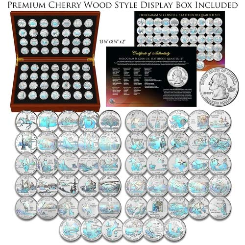 1999-2009 Complete HOLOGRAM State Quarters 56-Coin Set in Cherry Wood Style Box