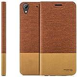zanasta Designs Tasche HTC Desire 626G Hülle Flip Hülle Slim Schutzhülle Handytasche mit Kartenfach, Standfunktion | Rotbraun