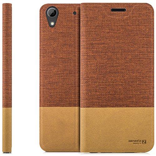 zanasta Designs Tasche HTC Desire 626G Hülle Flip Case Slim Schutzhülle Handytasche mit Kartenfach, Standfunktion | Rotbraun