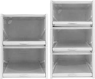 Boîte à chaussures Boîtes de rangement pour chaussures en plastique transparent et robuste empilable, conteneurs pour orga...