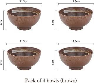 Set Of 4Pcs Ceramic Bowls Japanese Rice Bowl Blue Stripe Soup Bowl Restaurant Household Retro Dinnerware 4.5 Inch,Brown