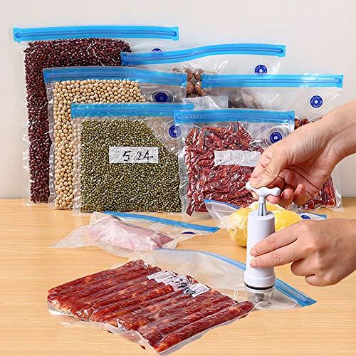 GUANGE 10er-Pack Vakuum-Lebensmittellagerbeutel mit Saugpumpe, Vakuum-Reißverschlussbeutel Doppelschicht, Lebensmittel-Vakuum-Kompressionsbeutel 3 x S, 3 x M, 4 x L.