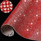 12000 Piezas de Pegatinas de Diamantes de Cristal Brillantes Decoración de Coche de DIY Autoadhesivas Brillantes de Joya para Decoración de Coche y Regalo, 9,4 x 7,9 Pulgadas (Rojo)