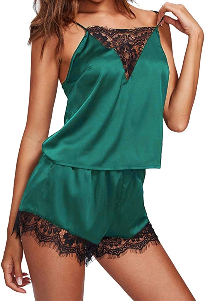 Maryia Women's Lace Trim Underwear Lingerie Floral Lace Trim Satin Cami Pajama Set Top and Shorts Sleepwear