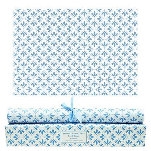 SCENTORINI Papel de Cajones de Fragancia de Lino, Perfumada para Armario Gabinete, 42 cm x 58 cm, 6 Hojas Azul - Lino 6 Piezas
