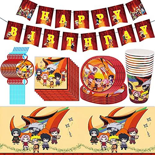Babioms 52Pcs Vajilla de Fiesta Temática, Plato, Servilleta de Papel, Taza, Mantel, Pajas, Bandera para Letras, Cumpleaños Vajilla - 10 personas