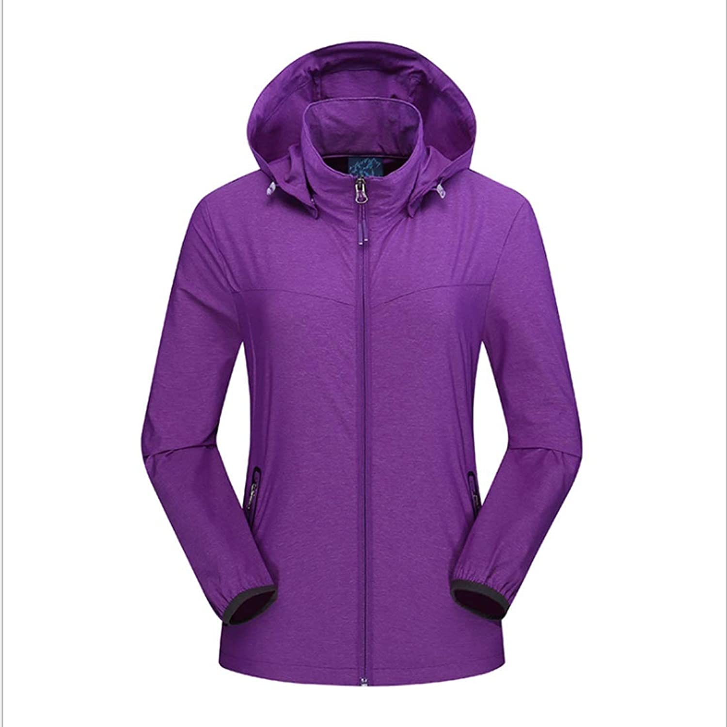 CEFULTY Spring Thin Section Ms. Solid color Stretch Windbreaker Coat Plain Waterproof Breathable (color   01, Size   M)