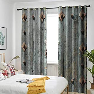 Decor Curtains by Suitable for Living Room Bedroom Room Dark Panel Rustic,European Cathedral with Rusty Old Door Knocker Gothic Medieval Times Spanish Style,Turquoise
