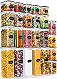 24 Pack Airtight Food Storage Container Set - Wildone BPA Free Plastic Kitchen and Pantry Organization Canisters with Durable Lids, Ideal for Cereal, Flour & Sugar - 40 Labels, Marker Set