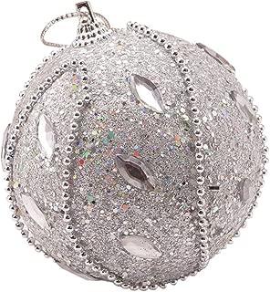 AmazingDays Christmas Rhinestone Glitter Baubles Ball Xmas Tree Ornament Decoration Christmas Ornaments Balls 8CM Silver