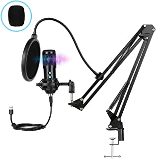 Innoo Tech PC Microphone, USB Condenser Microphone, Professional Recording Plug and Play Microphone Kit with Stand for Com...