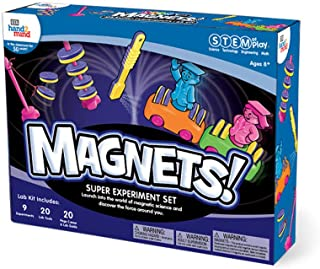 hand2mind Magnets! Super Science Kit For Kids (Ages 8+) - Build 9+ Stem Career Experiments & Activities   Make Magnets Float, Move A Train, & Build A Compass   Educational Toys   STEM Authenticated