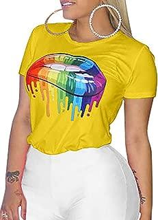 Women Casual T-Shirt Short Sleeve Rainbow Lips Print Top