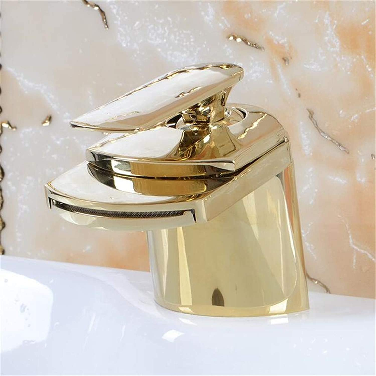 Copper Faucet Bathroom Antique Wide Mouth Waterfall Faucet Bathroom Supplies Table Local gold Hand wash Faucet