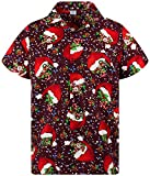 King Kameha Funky Camicia Hawaiana, Christmas Flying Hats, Red, M