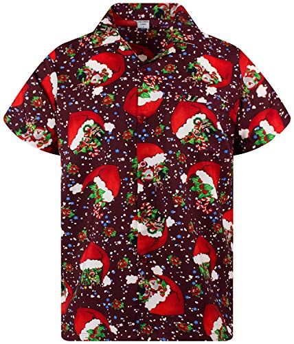 King Kameha Funky Camicia Hawaiana, Christmas Flying Hats, Red, M