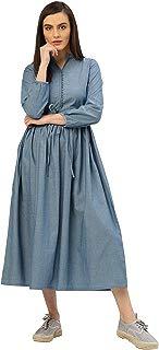 Jaipur Kurti Women A-Line Solid Cotton Handloom Dress (Blue)