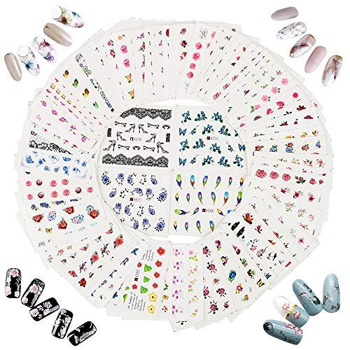 JNCH 100 Hojas Pegatinas Uñas Decorativas, Nail Art Stickers, Calcomanías Uñas Agua, para DIY Decoración de Arte de Uñas Patrón Flores Pluma Labios Mariposas Lazos