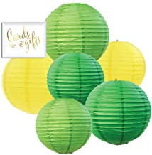 Andaz Press Emerald Green, Kiwi Green, Yellow Hanging Paper Lanterns Decorative Kit, 6-Pack with Free Gifts Table Party Sign, Pineapple Flamingo, Dinosaur, Zoo Animals, Farm Birthday Party Decorations