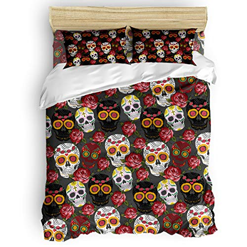 BABE MAPS Gothic Design for Kids Girls with Zipper Closure Ultra Soft Easy Care Bedding Set Queen (4pc Set, 1 Comforter Cover + 2 Pillow Shams + 1 Flat Sheet) Dead Embroidery Skulls and Rose Flowers