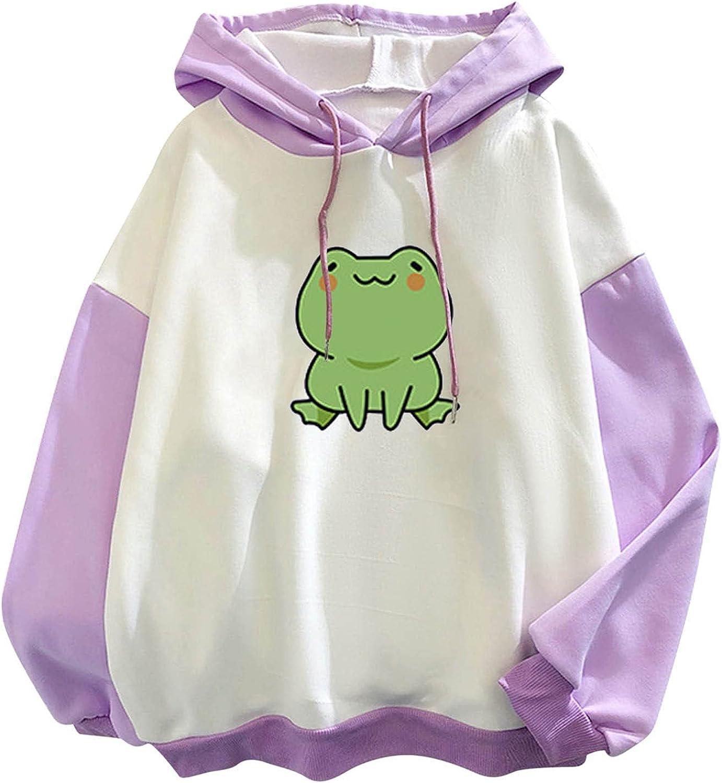 siilsaa Hoodies for Women, Womens Long Sleeve Frog Cute Sweatshirts Drawstring Patchwork Loose Pullover Tops Shirts