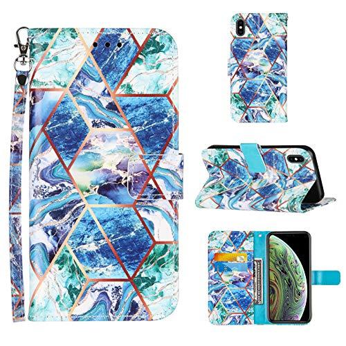 Kompatibel mit iPhone 8 Plus Hülle iPhone 7 Plus/6 Plus 6S Plus Brieftaschen etui Magnetisch mit 3 Kartenhalter, Handschlaufe Ständerfunktion Marmor Muster Leder Lanyard Brieftaschenetui - Blau / Grün