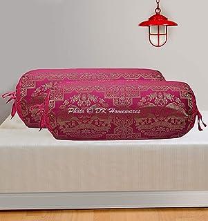 DK Homewares Traditionnel Cadeau de literie Méditation Soie Polydupion Taies d'oreiller cylindriques 15 x 30 Brocart Jacqu...