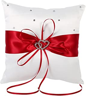 Yosoo 20cm×20cm Bridal Wedding Pocket Ring Pillow Cushion Bearer with Double Hearts Decoration, Red