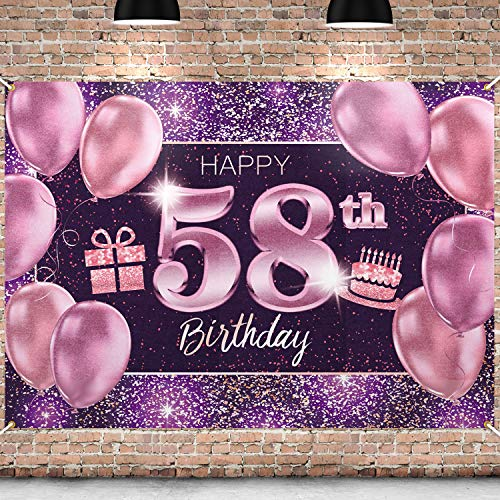 PAKBOOM Happy 58th Birthday Banner Backdrop - 58 Birthday Party Decorations Supplies for Women - Pink Purple Gold 4 x 6ft