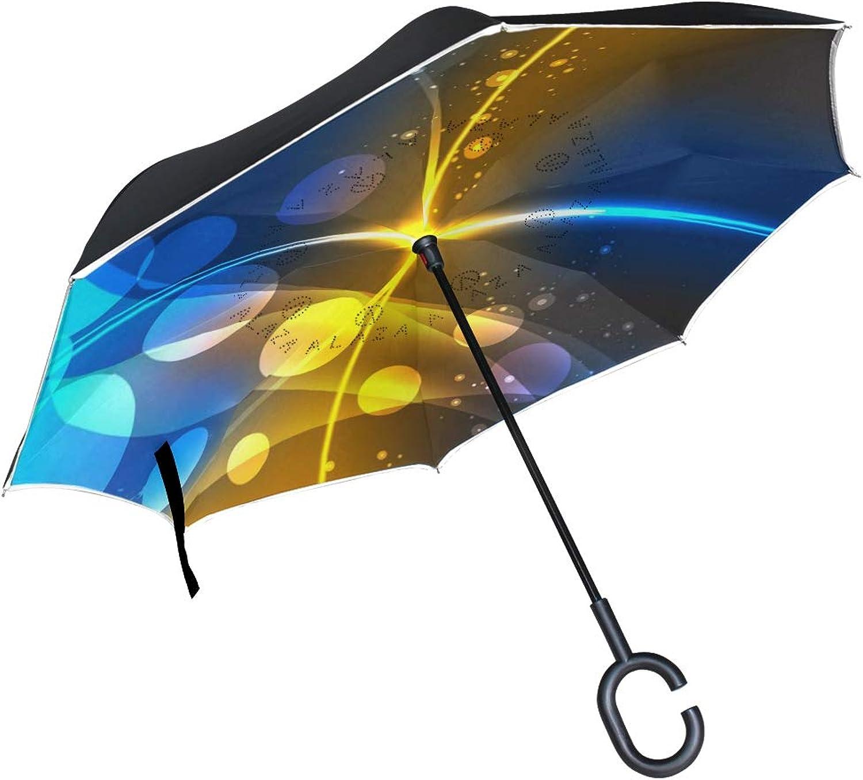 Ingreened Umbrella Double Layer Reverse Umbrella Waterproof Windproof UV Predection Straight Umbrella with CShaped Handle orange bluee Light Digital Printing for Car Rain Outdoor Use