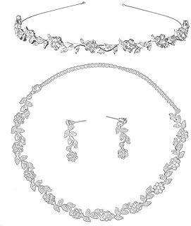 Pixnor gioielli strass Set di Matrimonio decorato di gioielli diadema insieme collana orecchini