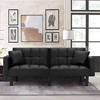 HOMHUM Futon Sofa Bed Modern Leather Convertible Folding Couch Recliner Adjustable Back w/Armrest for Living Room, Black