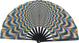 Electric Wave Large Folding Hand Fan | Premium Trippy Rave Fans | EDM Festival Accessories | Dance Fans | Japanese Bamboo and Cloth | Weatherproof | 100% |