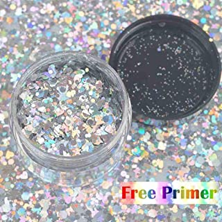COKOHAPPY Large Laser Silver Chunky Cosmetic Mix Glitter Jar (20 ml) Includes Long Lasting Fix Gel (10ml) Holographic Rave...
