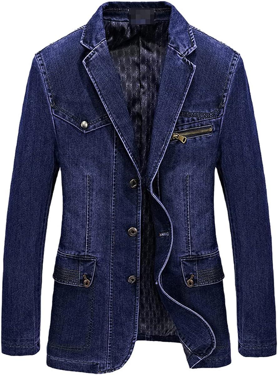 Multi-Pocket Denim Jacket Men's Spring Blazer Jacket Men's Business Casual Suit Denim Jacket
