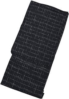 [ 京都きもの町 ] 男性 綿麻浴衣 単品 黒十字絣