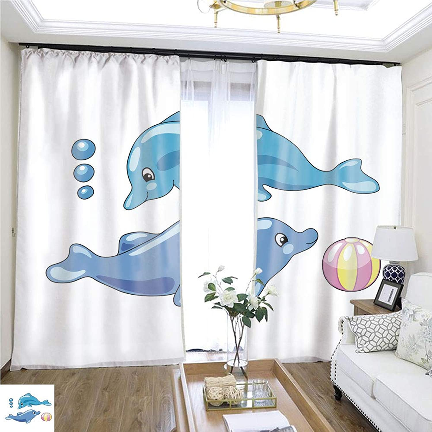 Air Port Screen Cute Dolphins with Playing Ball Vector Illustration in Cartoon Style W96 x L240 Block The Sun Highprecision Curtains for bedrooms Living Rooms Kitchens etc.