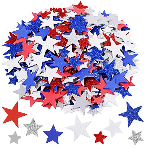 Assorted Patriotic Star Stickers Bulk 392 Pcs 3 Sizes Glitter & Matte Red Blue Silver White Grey...