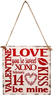 BinaryABC Valentine's Day Wooden Sign Plaque Door Wall Hanging Decorations