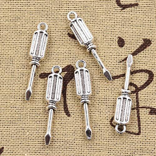 LLBBSS 15 Piezas Encantos Herramientas Destornillador 32X6X4 Mm Colgante Artesanal Hecho A Mano Ajuste De Color Plata Vintage DIY para Collar De Pulsera