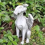 Grabstein Engel Gartendeko Figuren für Außen Groß Engel Figur Gartenfiguren Cartoon Engel Hund Statue Kunst Skulptur Garten Landschaft Harz Ornamente
