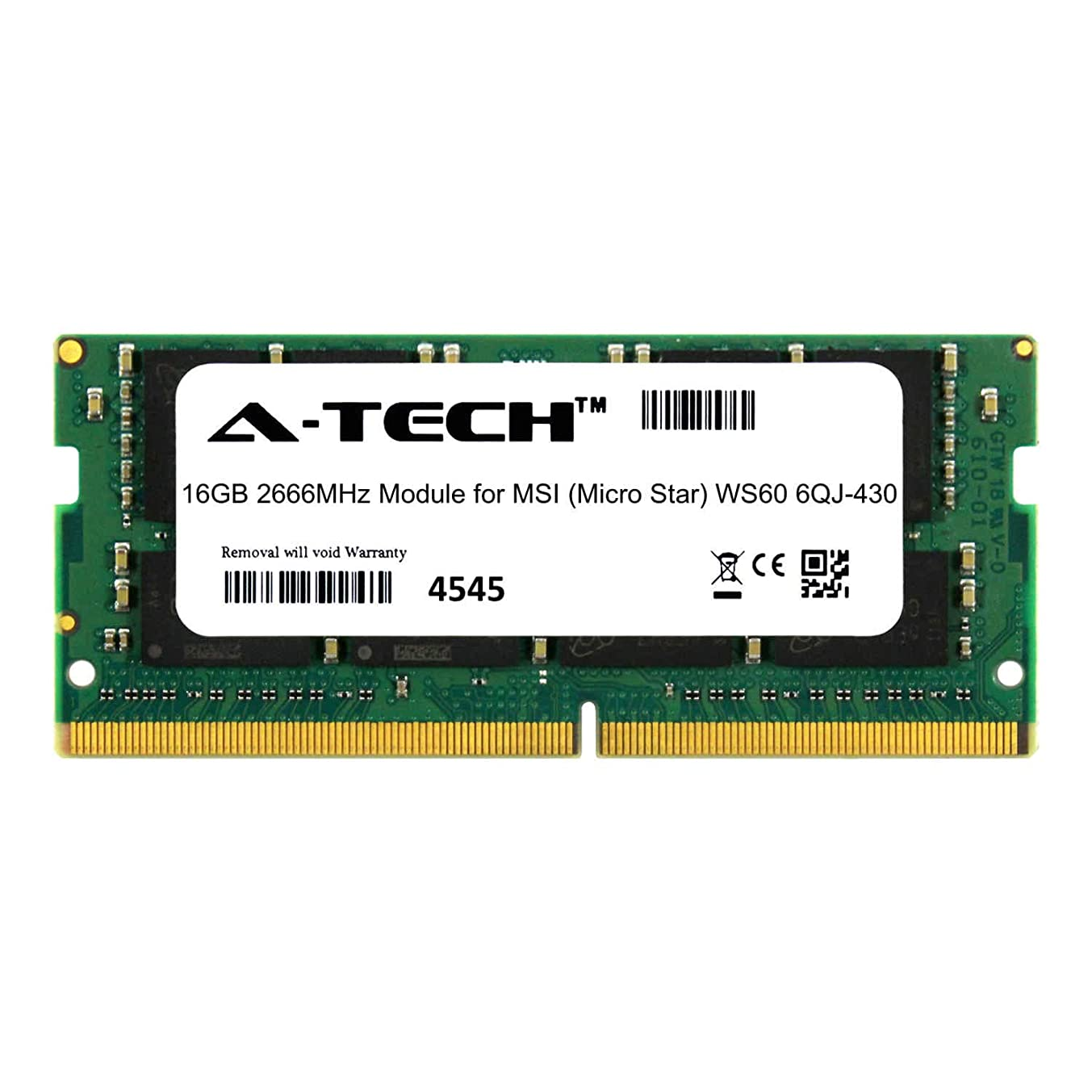 A-Tech 16GB Module for MSI (Micro Star) WS60 6QJ-430 Laptop & Notebook Compatible DDR4 2666Mhz Memory Ram (ATMS367804A25832X1)
